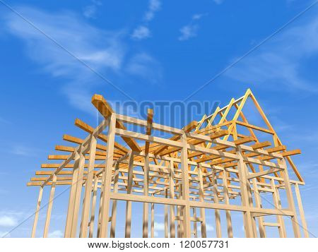 Wooden Frame Of A House.