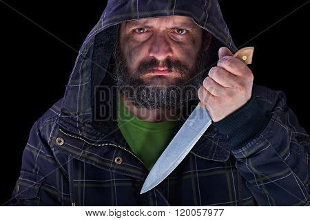 Hooded Frightening Man With Dirty Face And Big Knife