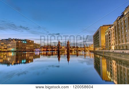 The River Spree with the Oberbaumbruecke in Berlin at dawn poster