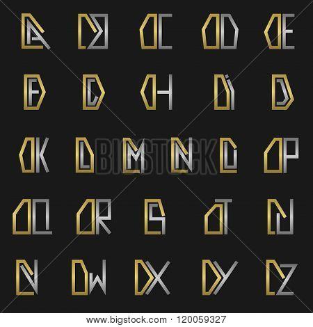 Letter D with alphabet