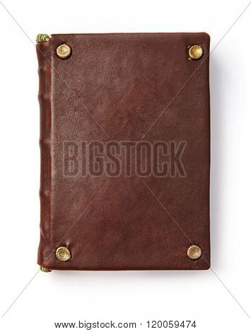 Vintage book with blank leather cover. Isolated white background