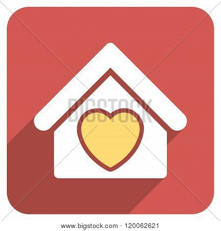 Hospice Flat Rounded Square Icon with Long Shadow