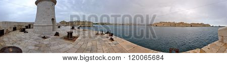 Panorama Of The Harbour Of Malta