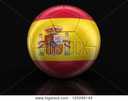 Soccer football with Spanish flag. Image with clipping path