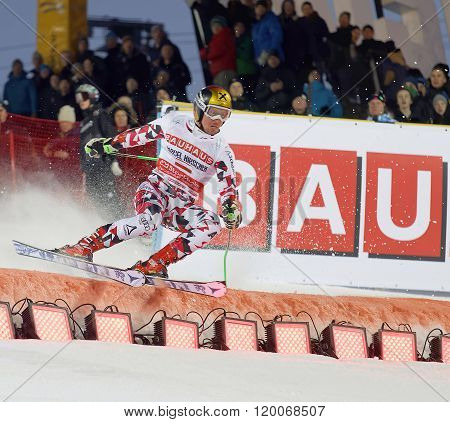Marcel Hirscher Skiing At A Slalom Event