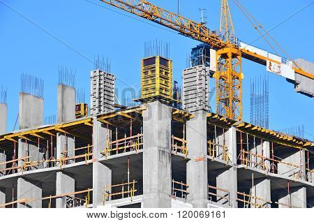 Crane And Highrise Construction Site