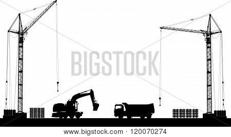 Building Site With Detailed Silhouettes Of Construction Machines On White Background. Vector Illustr