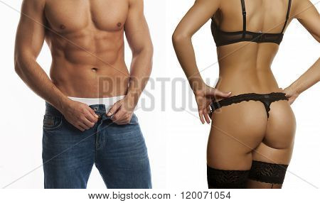 Sexy Man And Woman, Taking Clothes Off, In Lingerie And Underwear