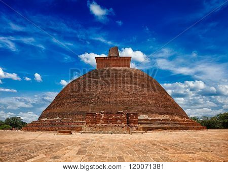Jetavaranama dagoba Buddhist stupa in ancient city Anuradhapura, Sri Lanka