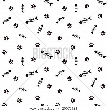 Seamless vector background with fish bones and cat's paws
