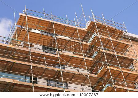 Construction site with scaffolding platform