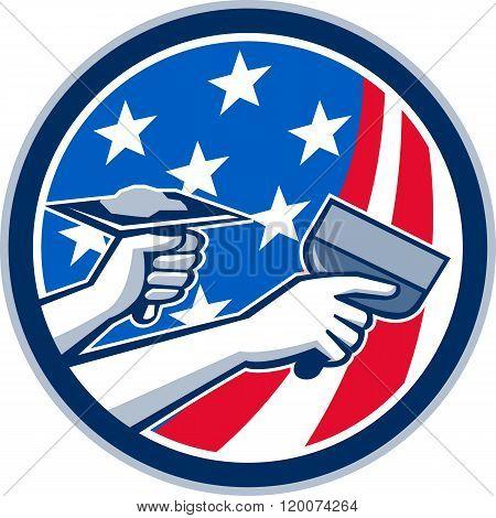 American Drywall Repair Service Flag Circle Retro