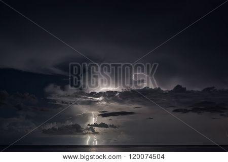 Lightning Strike Over The Sea