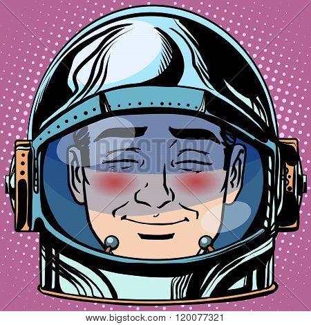 emoticon embarrassment Emoji face man astronaut retro