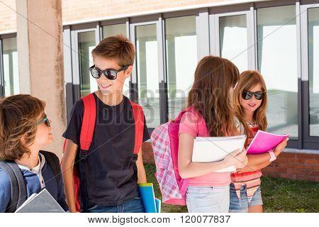 Kids Walking At School Campus