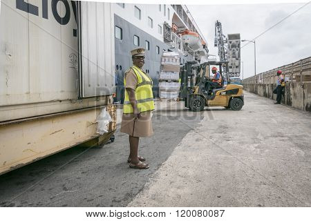 Provisions Being Loaded Onto Ship, Bridgetown, Barbados