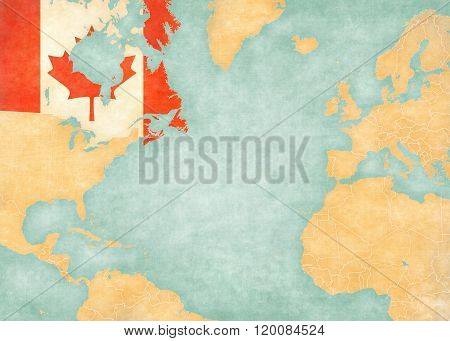 Canada (Canadian flag) on the map of North Atlantic Ocean. The Map is in vintage style and sunny mood. The map has soft grunge and vintage atmosphere like watercolor painting on old paper.
