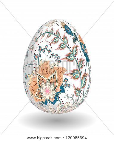 Gold egg with hand draw floral ornate isolated on white background. Fantasy biege blue flowers on white egg.