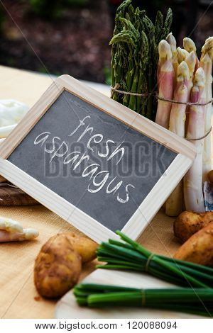Asparagus With Blackboard And Sentence