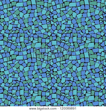 Vector Seamless Texture Of Sea Blue Asymmetric Decorative Tiles Wall. Vector Illustration