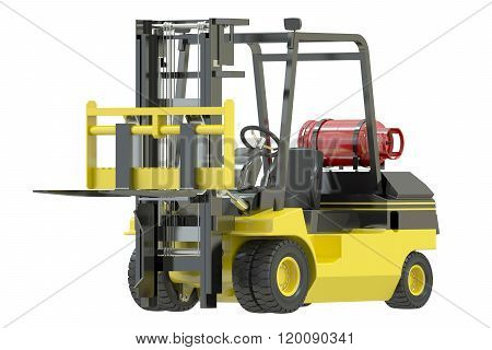 yellow Forklift truck isolated on white background