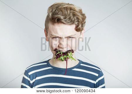 Boy With Mouth Full Of Mixed Salad Lettuce Greens