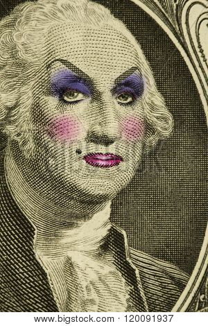 George Washington wearing women's makeup as drag queen poster