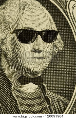 Serious hipster nerd George Washington wears sunglasses