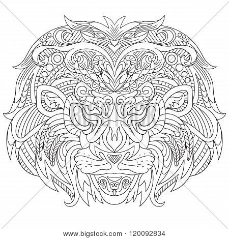 Zentangle Stylized Face Of Lion