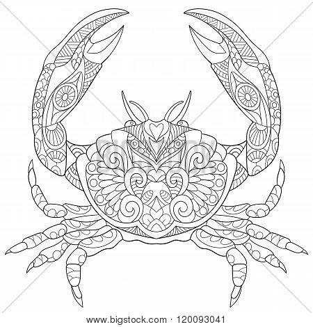 Zentangle Stylized Crab