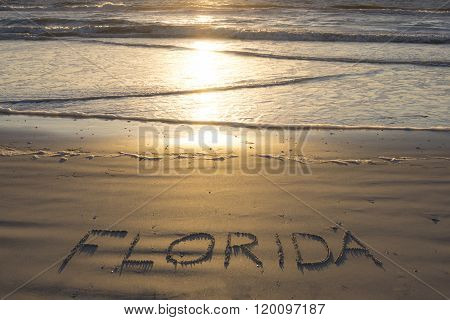 Florida Written On Sandy Beach