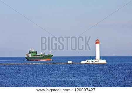 Lpg (liquid Petroleum Gas) Tanker And Lighthouse