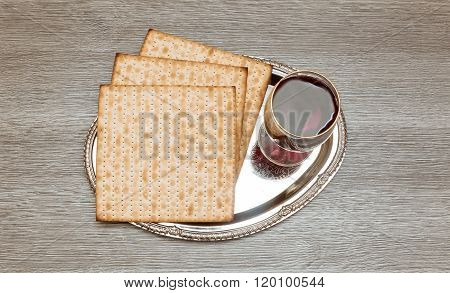 Still-life With Wine And Matzoh wine, wooden Jewish Passover Bread