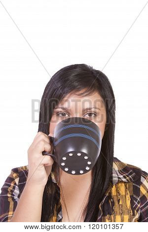 Close Up On A Teenager Drinking Coffee
