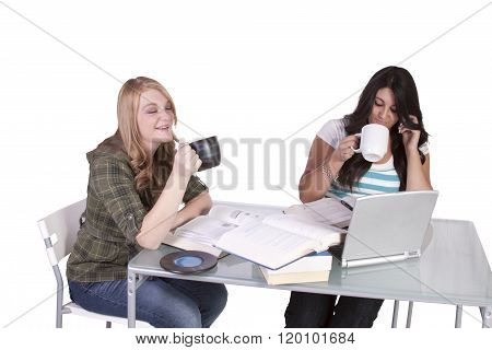 Two Cute Girls Studying At Thier Desks