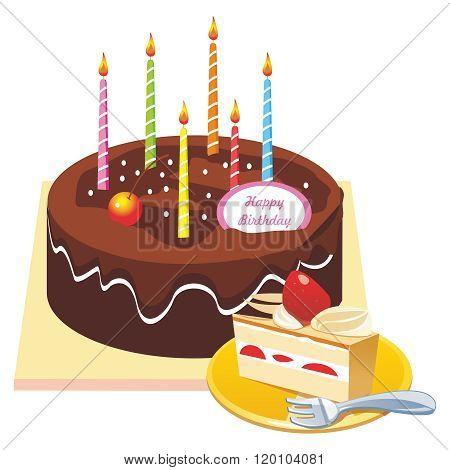 Vector Happy Birthday Cake Illustration