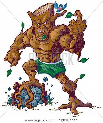 Muscular Tree Mascot Crushing Rock Vector Illustration