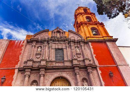 Templo Del Oratorio De San Felipe Neri Church Facade San Miguel de Allende Mexico. Built in 1700s named for San Felipe Neri from Florence who founded Oratorio Catholic Order