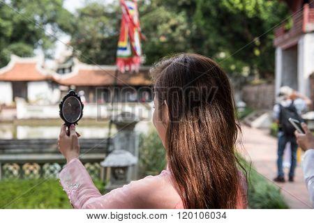 Tourists Inside Temple of Literature