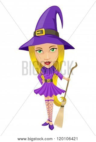 Cartoon illustration of a pretty witch