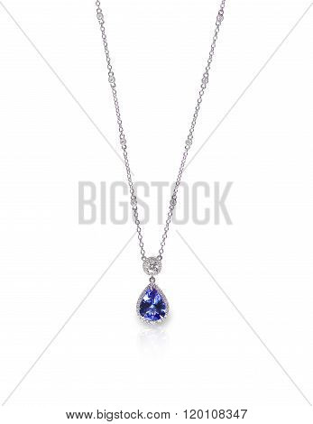 Blue Gemstone and Diamond Pendant Necklace isolated on a white background with a reflection poster