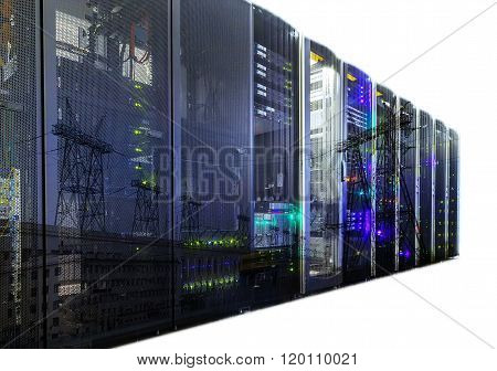 double exposure mainframe with road traffic isolate