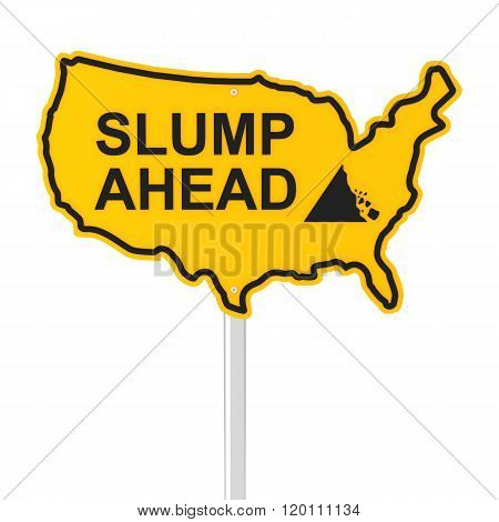 Slump ahead USA shaped road sign
