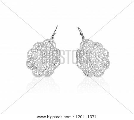 White gold silver filigree earrings dangle type
