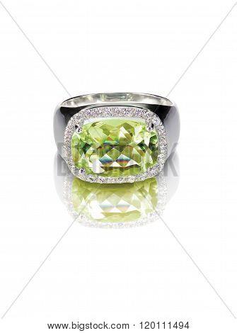 peridot engagement fashion diamond ring isolated on white