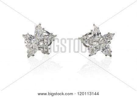 Beautiful Diamond Marquise earrings studs pair isolated on white with a reflection