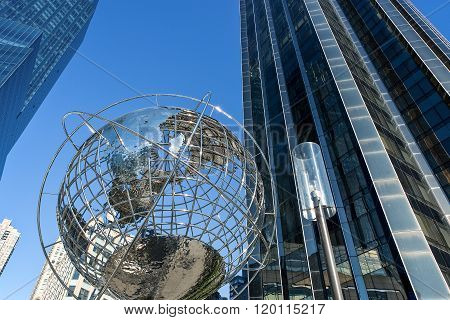 New York, U.S.A. - October 10, 2010: Manhattan, upward view of the Globus and the Trump tower in Columbus Circle