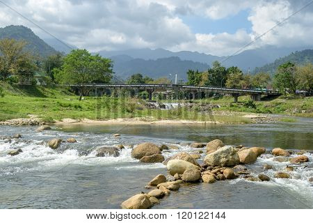 the river and mountains at Kiriwong village Nakorn Sri Thammarat Thailand.