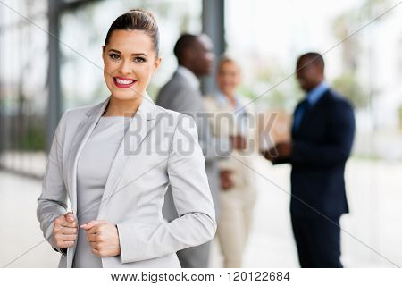 modern businesswoman in office looking at the camera