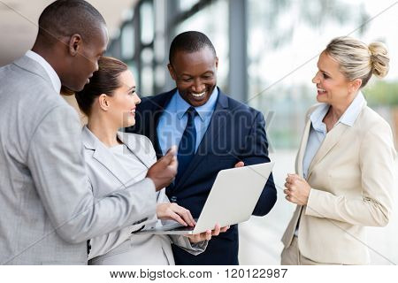modern business group using laptop computer in office